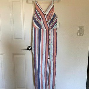 NWT Sandy & Sid Striped Maxi Side Slit Dress